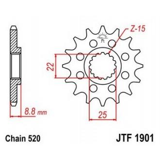 Zębatka przednia JTF1901.13 SC 520 KTM SX/EXC