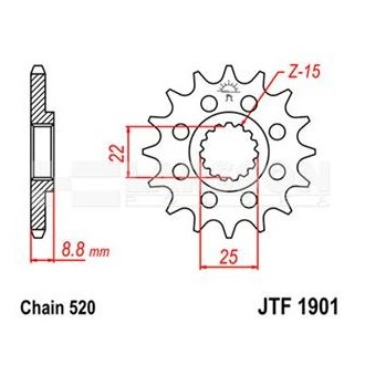 Zębatka przednia JT F1901-14 SC 14Z 520 stalowa