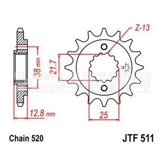 Zębatka przednia JT F511-14 roz 520 14 zębów