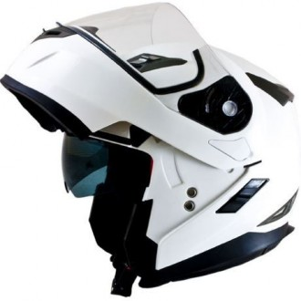 Kask L szczękowy biały Flip-Up Flux MT Helmets