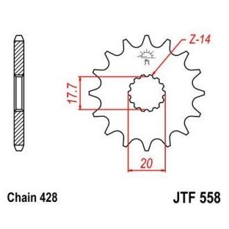 JT Zębatka przednia 577 14 Yamaha DT 125R(-2)
